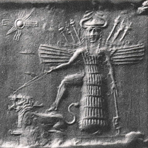 Inanna as depicted by an ancient Mesopotamian scroll seal